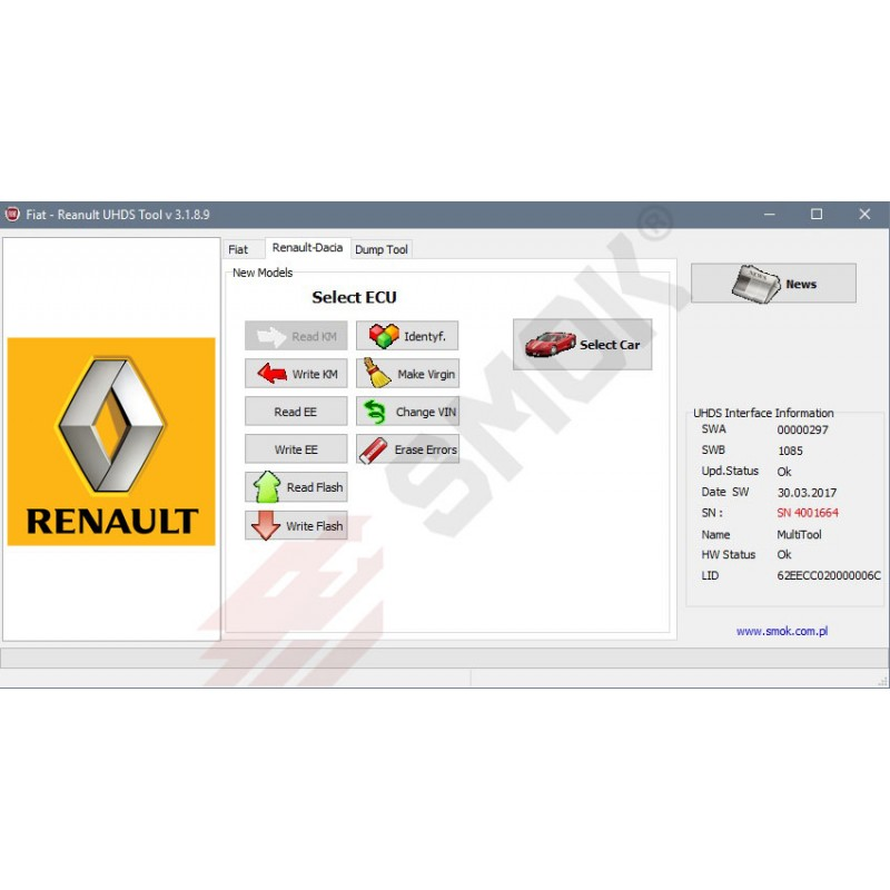 Mobile Ecu Remapping Renault change KM by OBD (RNP1